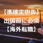 海外移住前に行うべき準確定申告と納税管理人【海外転職者は必須】