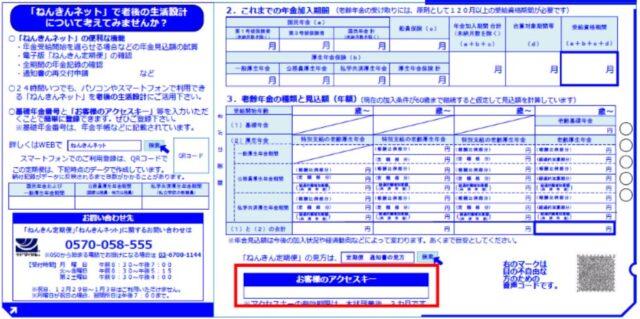 ねんきん定期便に記載されているアクセスキー